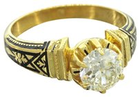 1880's Antique Victorian 14k Gold 0.94ct G-H SI2 Diamond Enamel Engagement Ring