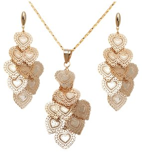 Other 18K Gold Plated Gold Doily Heart Drop Earring and Pendant Set