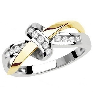 Other 18K JoYau Infinity Ring White/Yellow Gold Plated with crystals