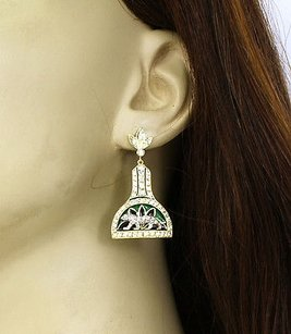 Other 18k Two Tone Gold 1.50ctw Diamond Enamel Panther Drop Dangle Earrings