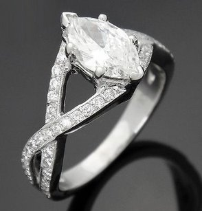18k White Gold 1.40 Tcw Marquise Diamond Engagement Infinity Ring R95