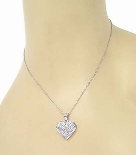 Other 18k White Gold 2.60ctw Princess Cut Diamond Heart Pendant 14k Wgold Chain