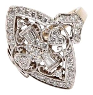 18k White Gold Diamond Marquee Filigree Detail Ring