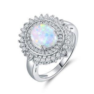 Other 18K White Gold plated Oal-cut Created Opal & CZ Ring