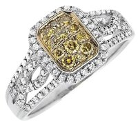 18k White Gold Rectangle Frame Canary And White Diamond Engagement Ring 0.65ct.