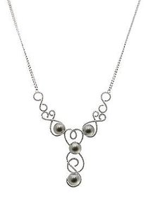 Other 18k White Gold Tahitian Pearl Diamond Necklace