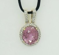 18k Yellow Gold 3.54tcw Pink Sapphire Diamond Pendant 17 Black Silk Cord N36
