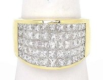 18k Yellow Gold 5.50ctw Invisible Set Princess Cut Diamond Wide Band Ring