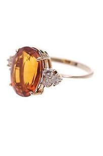 18k Yellow Gold Diamond Citrine Cocktail Ring Size 6
