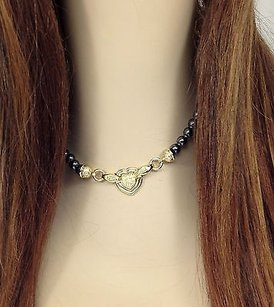 18k Yellow Gold Diamonds Hematite Beads Ladies Heart Motif Necklace