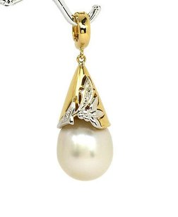 Other 18k Yellow Gold Diamonds South Sea Pearl 13.3mm Ladies Pendant