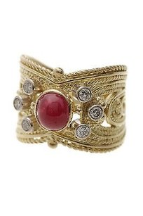 18k Yellow Gold Ruby Diamond Rope Band Ring Size 7.5
