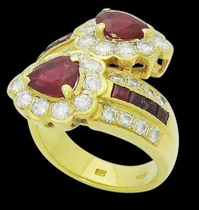 18k Yellow Gold Tcw Round Pear Princess Ruby Diamond Bypass Ring R539