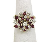 Other 18k Yellow White Gold 3.05ctw Diamonds Rubies Ladies Floral Cluster Ring