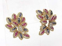 Other 18k Ygold 4.24ctw Diamond Sapphire Ruby Floral Clip On Earrings