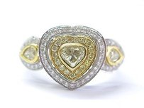 18kt Fancy Yellow Diamond White Gold Heart Pear Round Shape .90ct