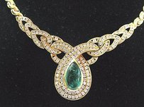 18kt Gem Green Colombian Emerald Diamond Yellow Gold Italy Necklace 16.5 4.50ct