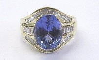 Other 18kt Gem Tanzanite Diamond Yellow Gold Jewelry Ring 6.93ct
