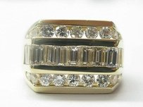 18kt Round Baguette Diamond Jewelry Ring Yellow Gold 3.05ct