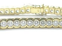 18kt Round Cut Diamond Bezel Set Tennis Bracelet Yg 10.50ct 42-stones