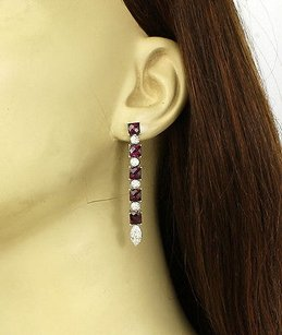 18kt White Gold 9.0ctw Diamond Garnet Drop Dangle Earrings
