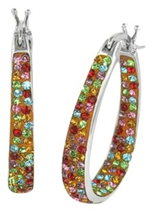 Other 18Kt White Gold Multi Color Austrian Crystal Inside Outside #1479a