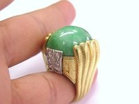 18kt Jade Diamond Jewelry Ring Yg 31.44ct