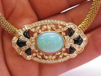Other 18kt Opal Onyx Diamond Necklace Brooch Yg 8.85ct