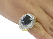 18ktplat Gem Sapphire Diamond Designer Jewelry Ring Yg 9.70ct
