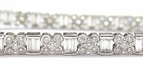 18kt Round Baguette Multi Shape Diamond Tennis Bracelet Wg 5.20ct