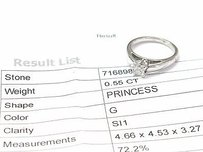 Fine 14k Princess Cut Diamond Solitaire Engagement Ring Wg .55ct G-si1 Egl Usa