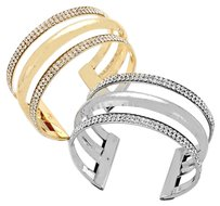 2 Crystal Detail Cuff Bracelets Gold & Silver