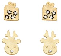 Other 2-Pairs Christmas Rudolph & Gift Box Stud Earring Set