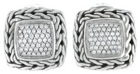 John,Hardy,18k,Gold,925,Sterling,Silver,Chain,Square,Diamond,Pave,Earrings