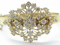 Other 22kt Diamond Flower Yellow Gold Bangle Bracelet 4.33ct