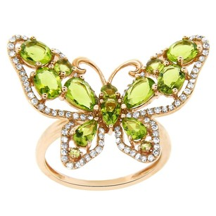 2.35ct Peridot Quartz 14k Rose Gold And Diamond Butterfly Ring 5-8