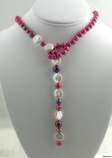 24 Freshwater Peal Necklace - Dyed Pearls Coin Shapes Purple Pink White Design
