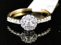 14k Ladies Yellowgold Diamond Engagement Solitaire Ring
