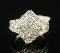 14k Ladies Princess Cut Wg Engagement Diamond Ring 1.0