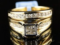 14k Yellow Gold Ladies Princess Cut Diamond Wedding Engagement Bridal Ring Set