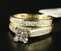 10k Ladies Princess Bridal Engagement Diamond Ring Set
