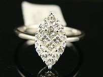 Womens Diamond Marquise Solitaire Look Engagement Ring