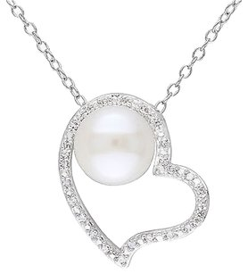 Sterling Silver 110 Ct Diamond 8-8.5 Mm Pearl Heart Love Pendant Necklace I2i3