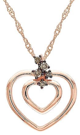Other 10k Pink Gold Brown Diamond Heart Love Pendant Necklace 17 Inch Chain