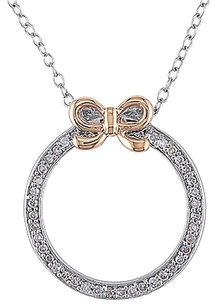 Other 14k Pink Gold 16 Ct Diamond Tw Bow Fashion Pendant With Silver Chain Gh I2i3