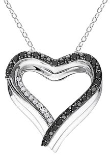 Sterling Silver 14 Ct Black And White Diamond Heart Pendant Necklace Gh I1i2