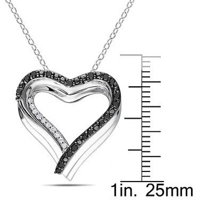 Other Sterling Silver 14 Ct Black And White Diamond Heart Pendant Necklace Gh I1i2
