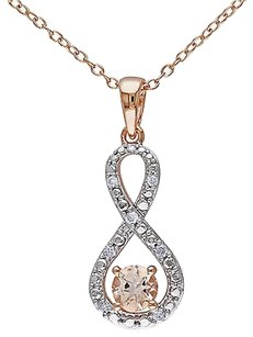 Other Rose Silver 110 Ct Diamond 12 Ct Morganite Infinity Pendant Necklace