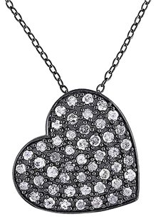 Other Sterling Silver 1 Ct Diamond Heart Love Pendant Necklace I3 18 Inch Chain
