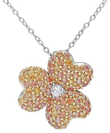 Other Sterling Silver Yellow White Sapphire Heart Nature Flower Pendant Necklace